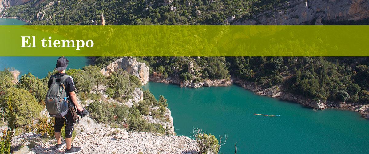 El tiempo en Alquezar y pasarelas río Vero